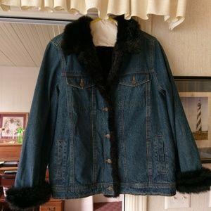 Dennis Basso Women's Faux Fur lined Jean Jacket, L